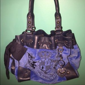 Large Juicy Couture Velour Royal Blue Tote Bag